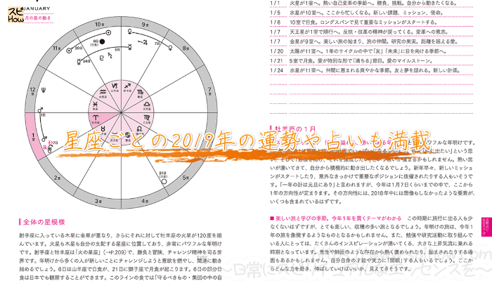 星座ごとの2019年の運勢や占いも満載
