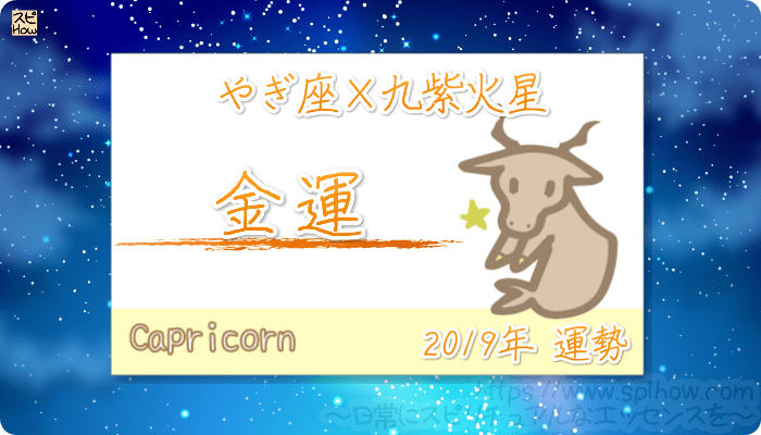 やぎ座×九紫火星の2019年の運勢【金運】
