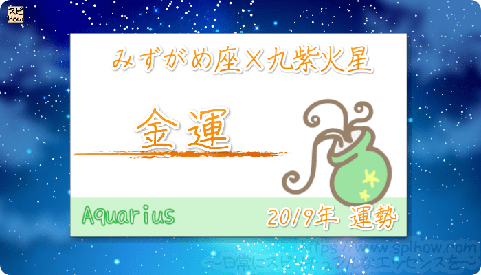 みずがめ座×九紫火星の2019年の運勢【金運】