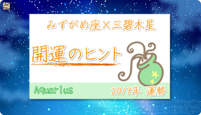 みずがめ座×三碧木星の【2019年をHAPPYに過ごすためのヒント】